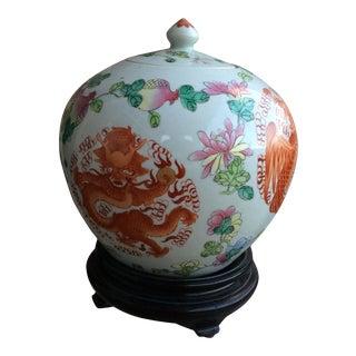 Vintage Porcelain Ginger Jar on Stand For Sale