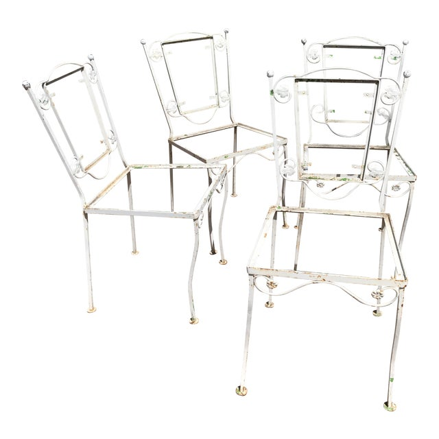 Vintage Wrought Iron Chairs - Set of 4 - Image 1 of 8
