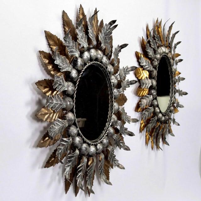 Mid Century Spanish Gilt and Silver Metal Sunburst Mirrors - A Pair - Image 6 of 9