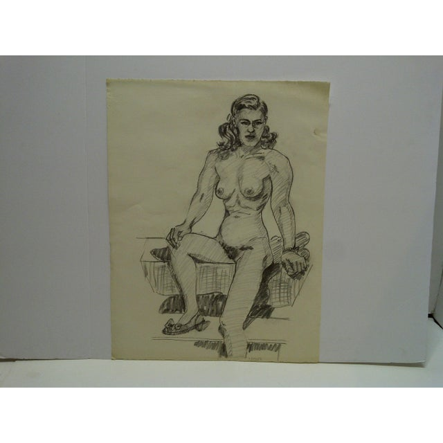 """1950s 1956 Mid-Century Modern Original Drawing on Paper, """"Nude With Pretty Shoe"""" by Tom Sturges Jr. For Sale - Image 5 of 5"""
