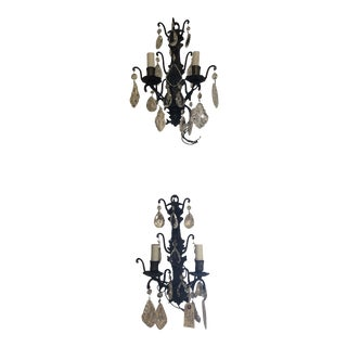 French Bronze & Crystal Sconces - a Pair For Sale