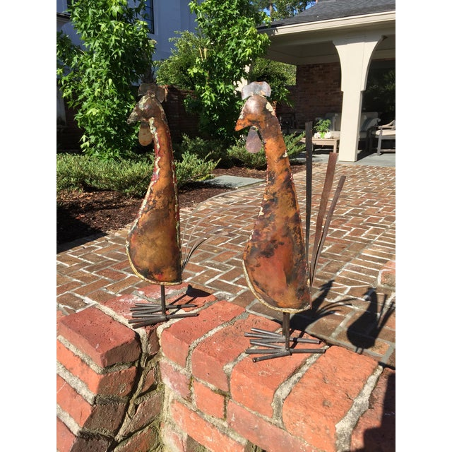 Copper Rustic Copper Roosters - a Pair For Sale - Image 8 of 11
