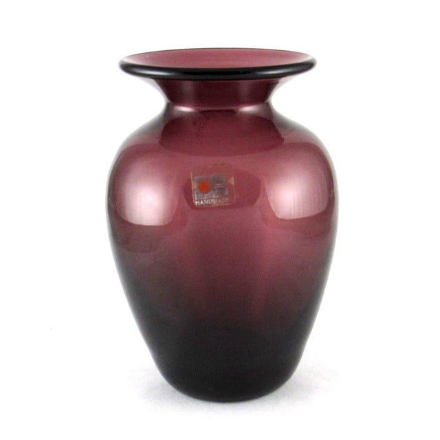 1980s Blenko Hand Blown Amethyst Glass Vase For Sale - Image 10 of 10