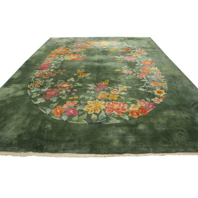 Art Deco Early 20th Century Antique Chinese Art Deco Rug, Green Chinese Art Deco Rug For Sale - Image 3 of 10