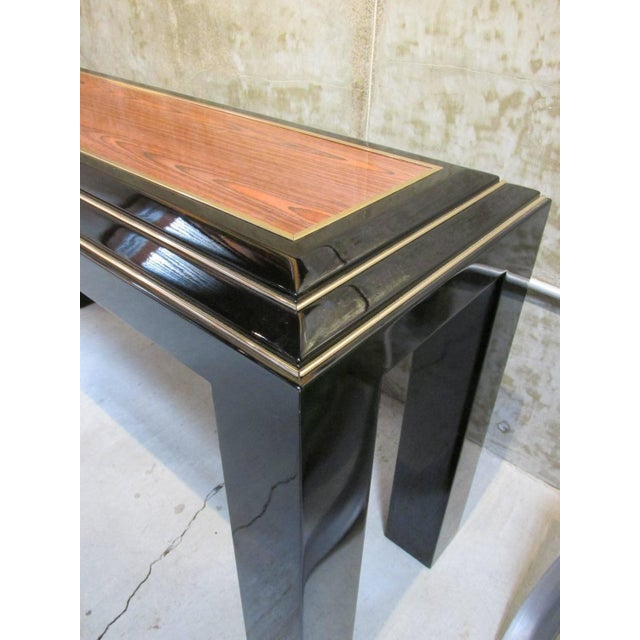 Rougier Regency Style Black Lacquer Console Table - Image 5 of 8