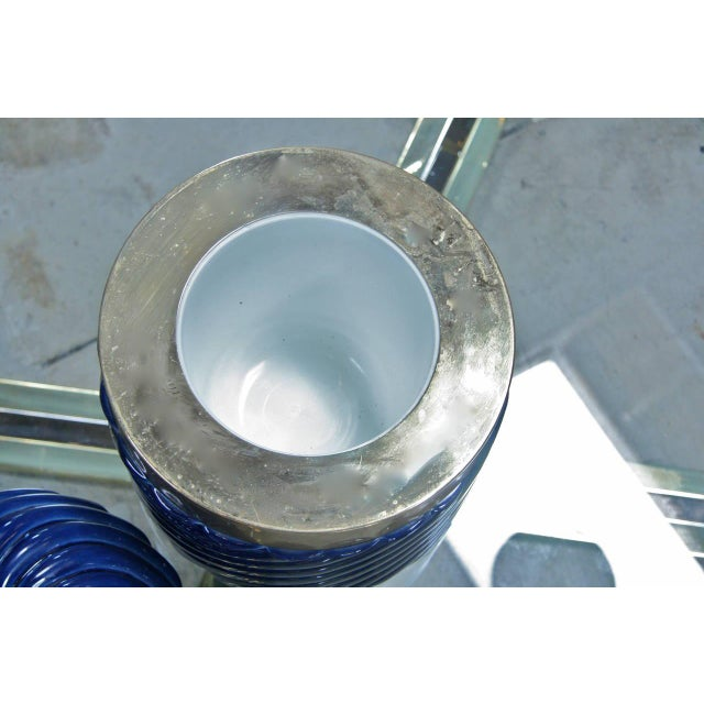 Brass Ice Bucket in Blue Ceramic and Brass by Tommaso Barbi For Sale - Image 7 of 8