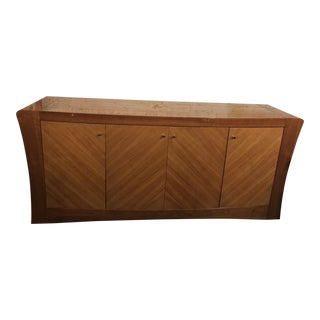 Vintage Mid Century Modern Milo Baughman Style Burled Wood Lacquered Credenza For Sale