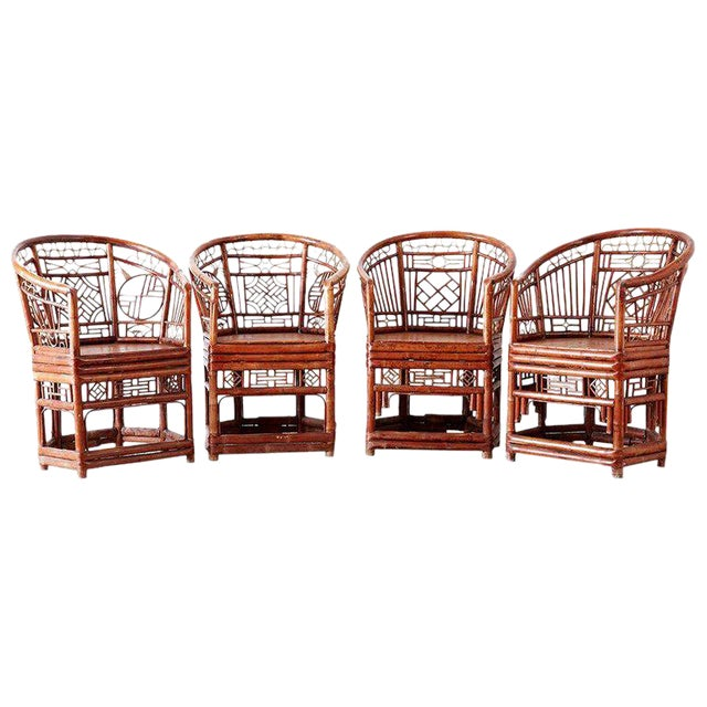 Set of Four Brighton Pavillion Style Bamboo Armchairs For Sale
