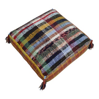 Hand Made Kilim Floor Pillow Turkish Sitting Cushion - 22″ X 22″ For Sale