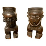 Image of African Carved Wood Urns or Vases - a Pair For Sale