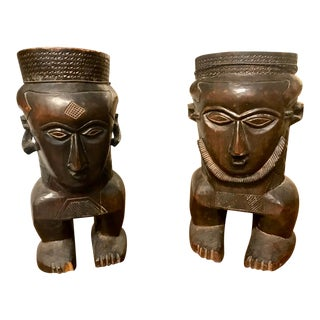 African Carved Wood Urns or Vases - a Pair For Sale