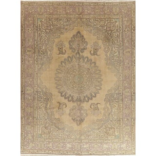 "Early 20th Century Antique Ivory Hue Persian Tabriz Wool Rug - 9'8"" X 12'11"" For Sale"
