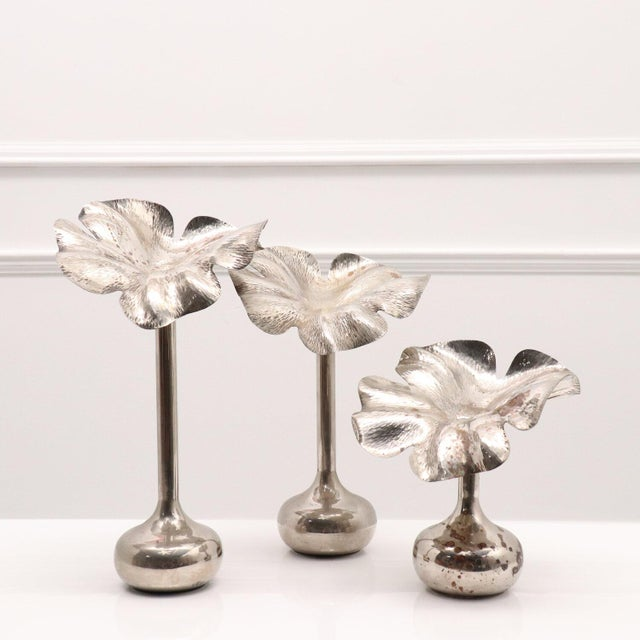 1960s Modernist Marilena Mariotto Silver Plated Vases - Set of 3 For Sale - Image 9 of 9