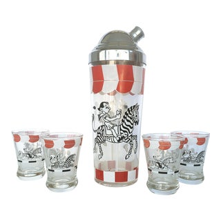 Mid-Century Modern Circus Theme Martini Shaker & Glasses - Set of 5 For Sale