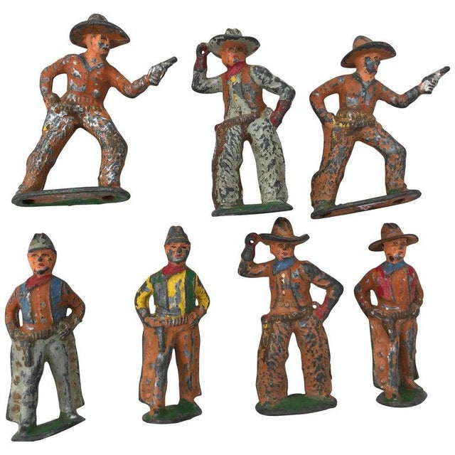 1950 Antique Lead Toy Cowboys - Set of 7 For Sale - Image 9 of 9