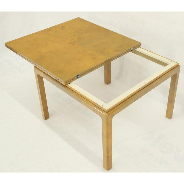 1970s Lacqured Goat Skin Parchment Square Flip Top Dining Table For Sale - Image 5 of 13