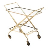 Image of Vintage French Brass Bar Cart For Sale