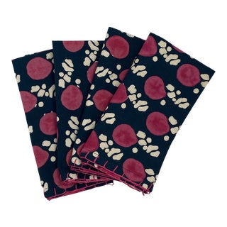 Melvin Blockprinted Napkins by Tulu - Set of 4 For Sale