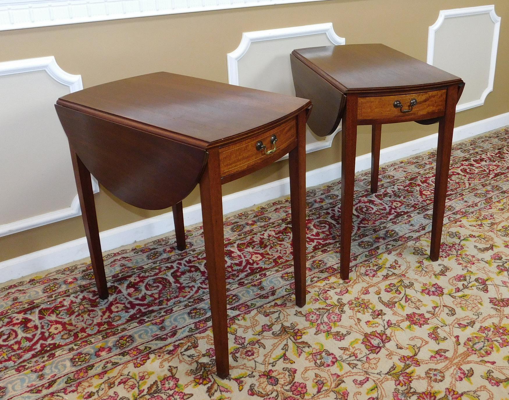 Vintage Federal Style Pembroke Drop Leaf End Tables Pair Chairish