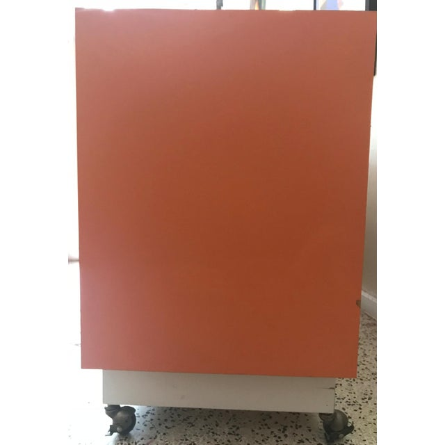 Chinoiserie Chic Orange Cabinet & Drawers Credenza Sideboard For Sale - Image 10 of 11