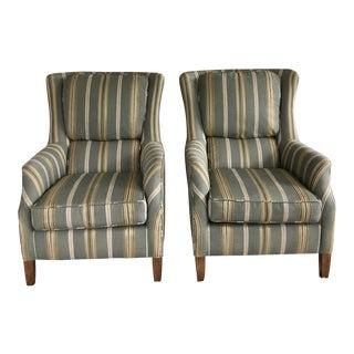 Arhaus High-Back Club Chairs - a Pair For Sale