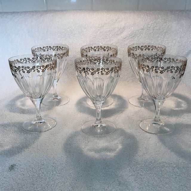 Crystal Goblets With Gold Leaves Trim - Set of 6 For Sale In Sacramento - Image 6 of 9