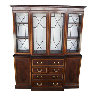 English Chippendale Georgian Mahogany & Walnut Breakfront Bookcase Secretary For Sale