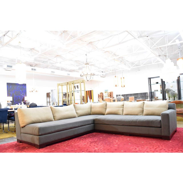 """A beautiful lightly used """"Ocean"""" sectional sofa by Christian Liaigre. Fabric is a high quality linen with silk back..."""
