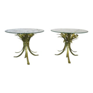 Vintage Italian Gilt Metal Wheat Sheaf and Flowers End Tables - a Pair For Sale