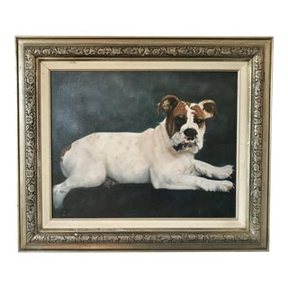 "2000s Portraiture Framed Oil Painting, ""Bulldog Portrait"" For Sale"