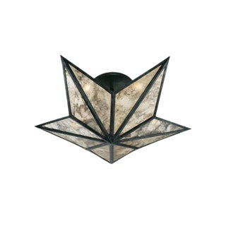Modern Constellation Bronze & Antiqued Glass Flush Mount Light For Sale