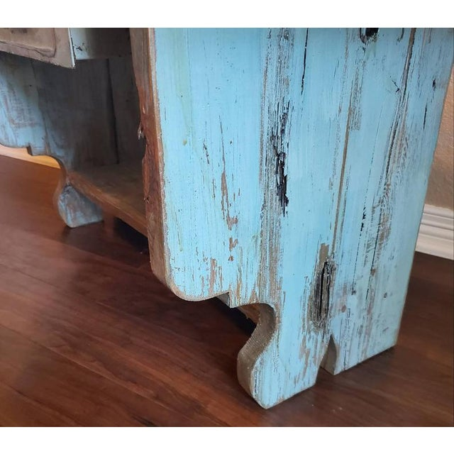 Antique Rustic American Country Farmhouse Wooden Bench For Sale In Dallas - Image 6 of 11