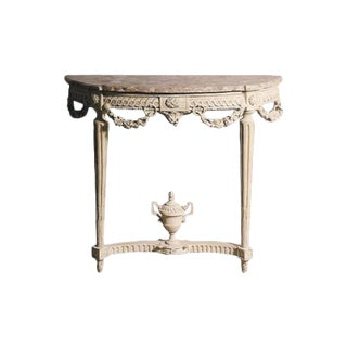 Louis XVI Period Carved and Painted Demi-Lune Console For Sale