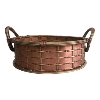 Vintage Woven Copper and Brass Basket For Sale