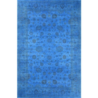 "Blue Overdyed Area Rug - 12'1"" X 17'10"" For Sale"