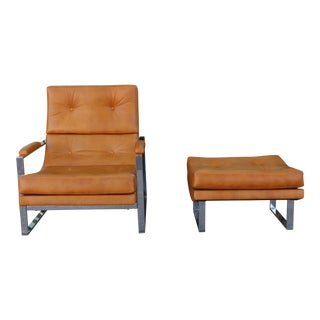 Milo Baughman Style Tufted Lounge Chair and Ottoman