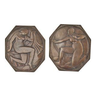 Bronze Art Deco Style Plaques - A Pair For Sale