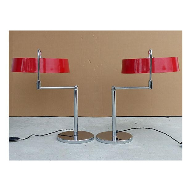 Italian Lamps With Enameled Shades - Pair For Sale - Image 11 of 11