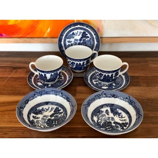 Johnson Brothers Blue Willow Cups Saucers and Bowls - Set of 8 Preview
