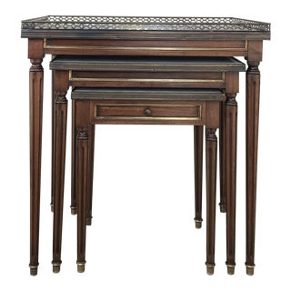Set of Antique Directoire Marble Top Nesting Tables For Sale