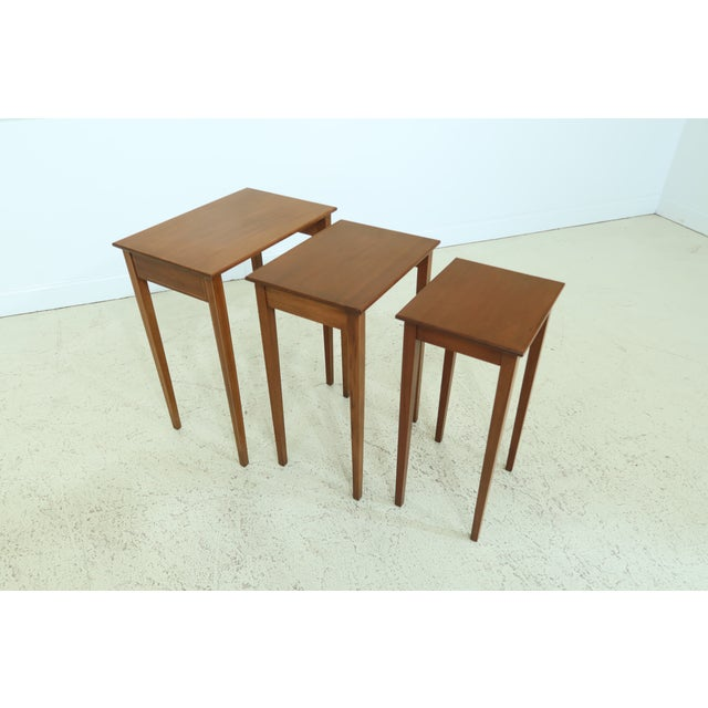 Biggs 3 Piece Inlaid Mahogany Nesting Stack Tables For Sale In Philadelphia - Image 6 of 10