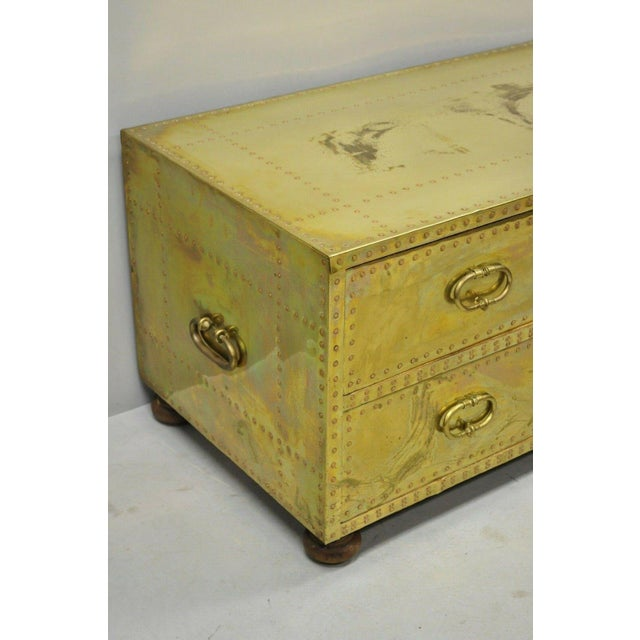 Campaign Vintage Sarreid Two Drawer Brass Studded Campaign Style Low Chest of Drawers For Sale - Image 3 of 13