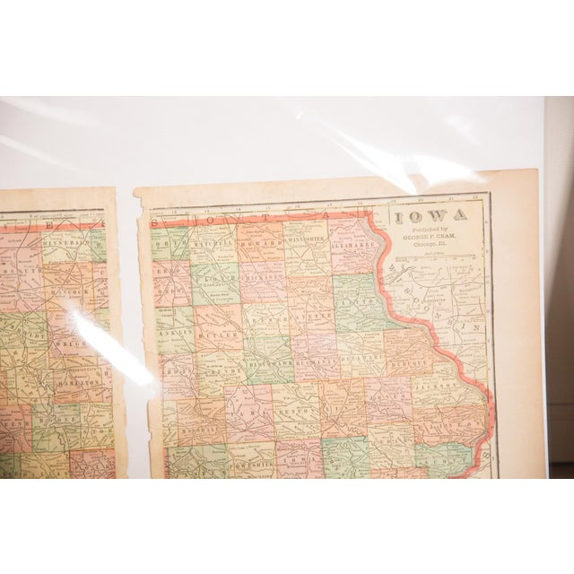 American Cram's 1907 Map of Iowa For Sale - Image 3 of 4