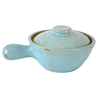 Vintage Petite Blue Handled Baker For Sale