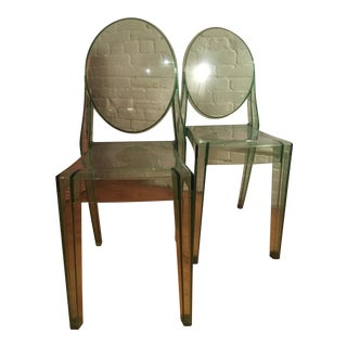 Green Kartell Ghost Chairs - A Pair