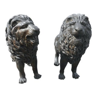 Pair of Majestic Bronze Lion Garden Statues For Sale