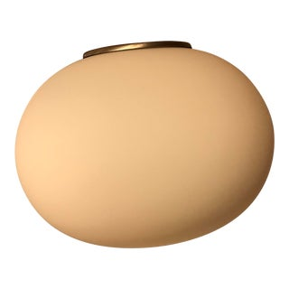 Frosted White Glass Oval Globe Pendant, Brushed Nickel Finish For Sale