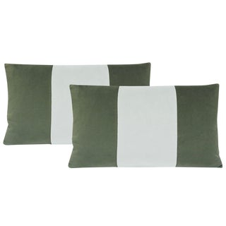 "12""x18"" Eucalyptus and Mist Velvet Lumbar Pillows - a Pair For Sale"