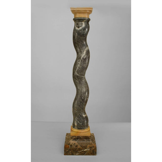 Italian Neo-classic style (19/20th Cent) green and Siena trimmed swirl marble column pedestal with a square base and top.