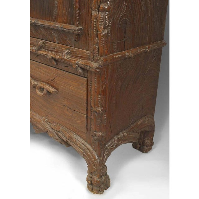 Rustic Black Forest 19th Century Walnut Three-Section Armoire Cabinet For Sale - Image 10 of 11
